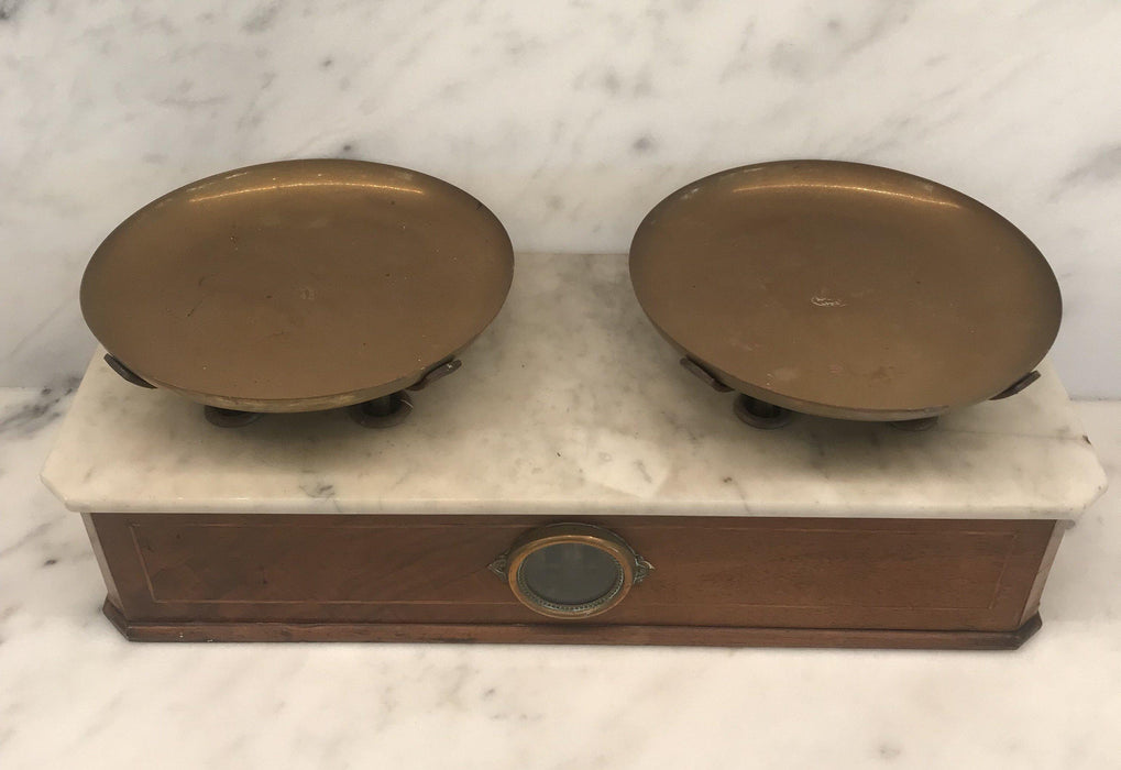 Antique French Andre Lyon 2-Sided Marble Top Bakery Scale