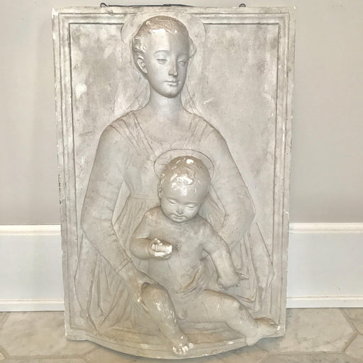 Beautiful Bas Relief Wall Sculpture of Madonna and Child