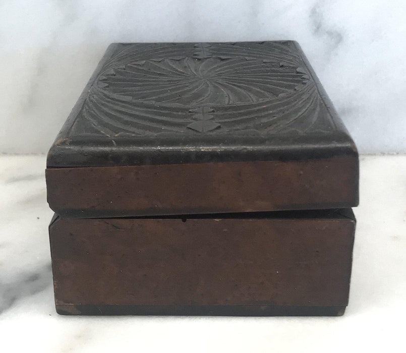 Antique British Hand Carved Box from 1915 For Sale