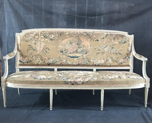 Antique Aubusson Tapestry sofa sofa loveseat bench settee canape for sale