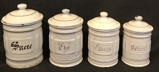 For sale: French Four Piece Enamel Canister Set White/Gold