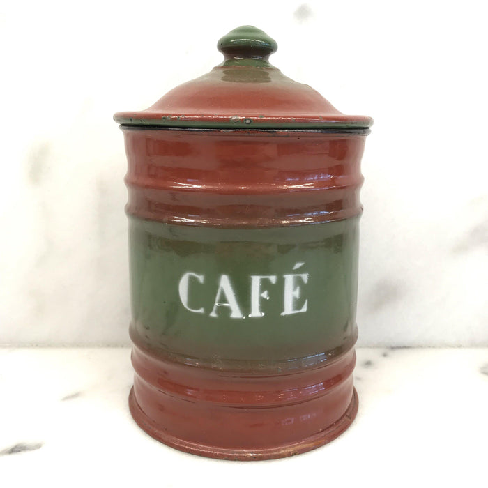 Six Piece French Enamel Kitchen Canister Set Red/Green To Buy