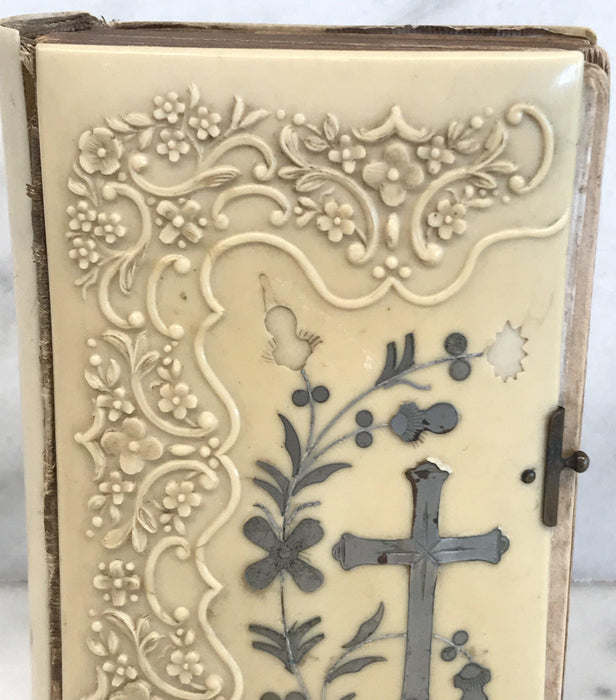Antique French Prayer Book with Sterling Silver Inlay Cross Detail
