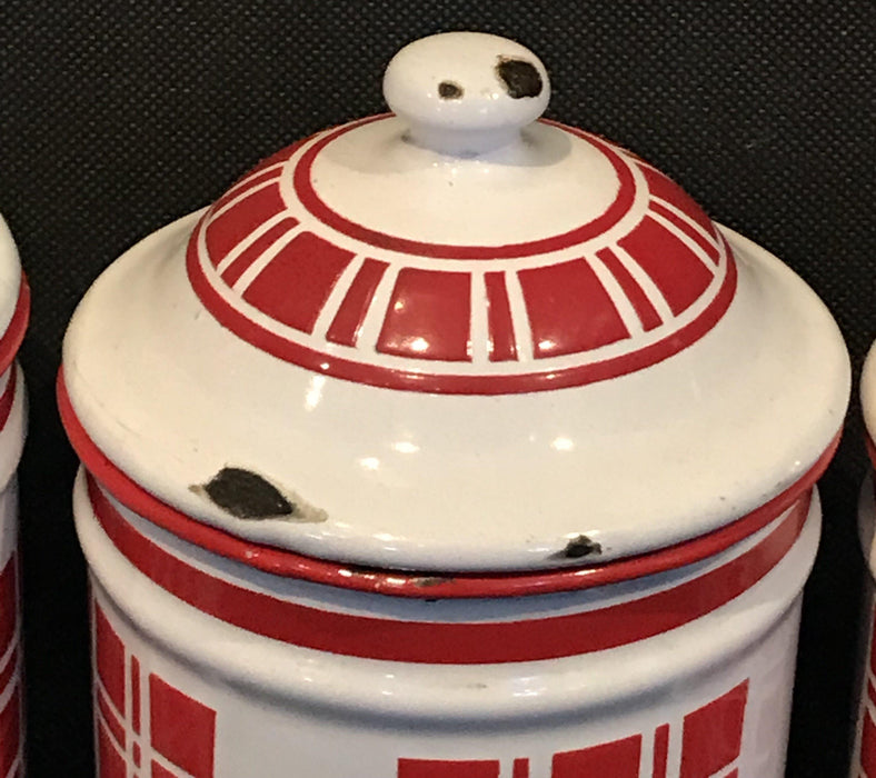 French Six Piece Red and White Enamel Canister Set To Sell