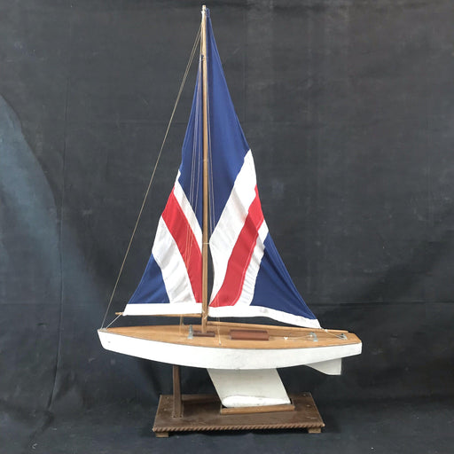 British Vintage Pond Yacht on Stand with British Union Jack Flag Sail