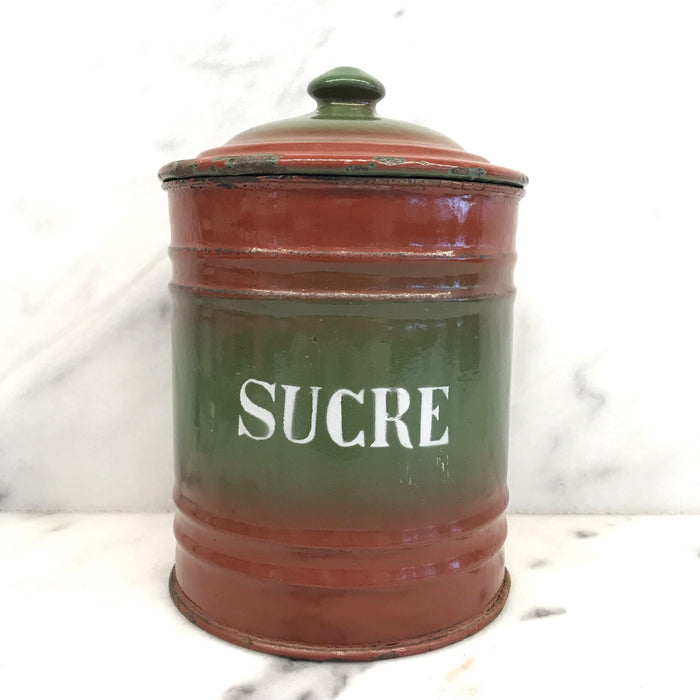 To Buy: Six Piece French Enamel Kitchen Canister Set Red/Green