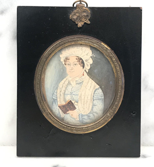 For sale: British Georgian Miniature Painting of a Woman Holding a Book