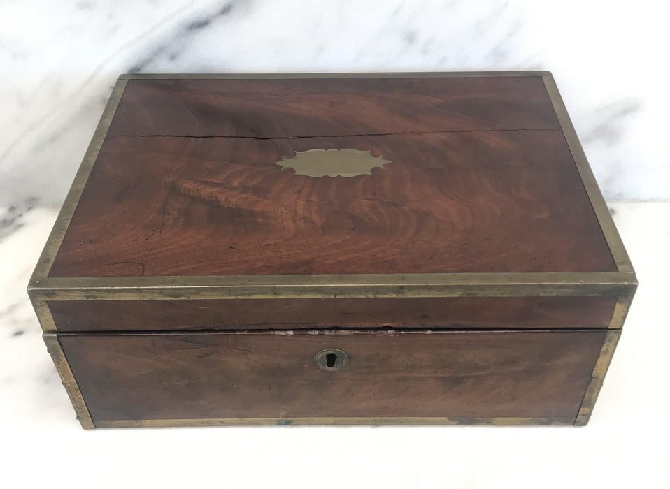 For Sale: Very Early Georgian British Box with Brass Pulls and Strapping