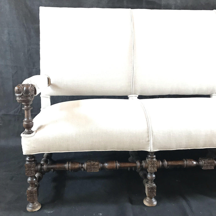 Super Early French Walnut Antique Carved and Upholstered Sofa with Dragon Head Arms