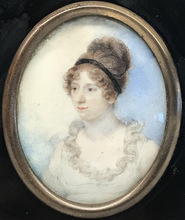 For sale: Early Georgian Miniature Painting Young Aristocratic Woman