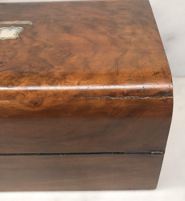 Antique British Walnut Writing Box/Slope/Desk with Original Embossed Desk Leather, Mother of Pearl Escutcheon and Crest