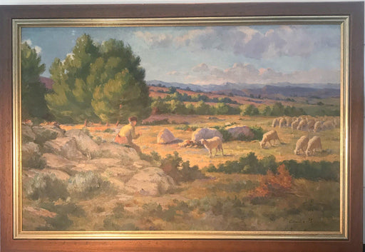 For sale: French Shepherd and Flock of Sheep in Brilliant Colors: Oil Painting Charles Joseph Berges