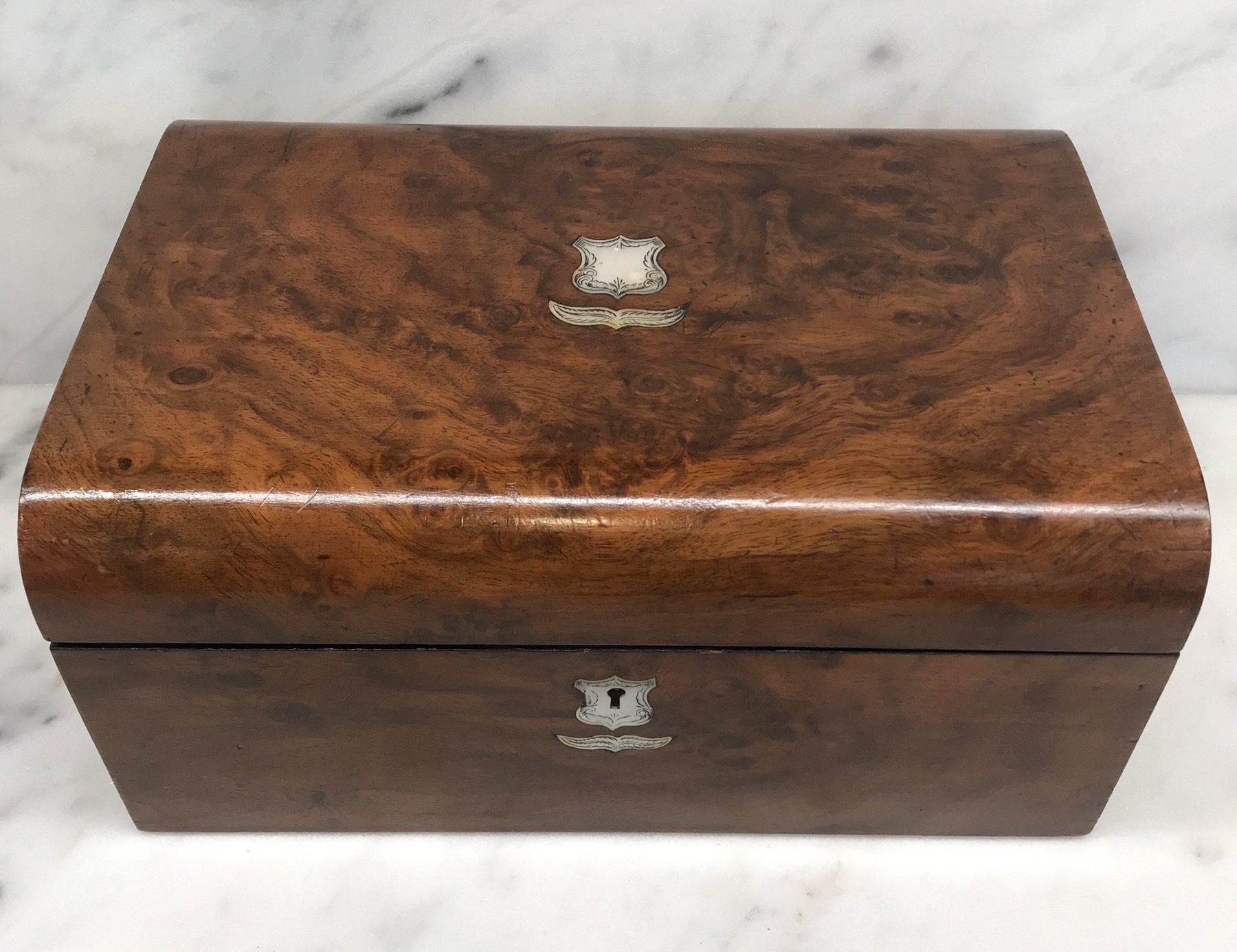 For Sale: British Walnut Writing Box/Slope/Desk with Original Embossed Desk Leather, Mother of Pearl Escutcheon and Crest