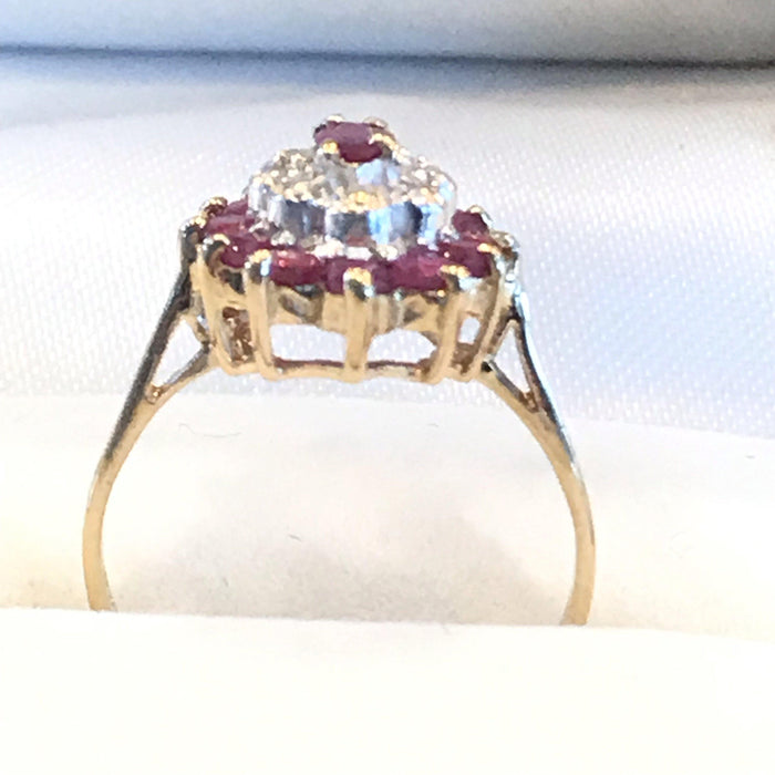 British Diamond and Ruby Ring with Center Marquee Ruby