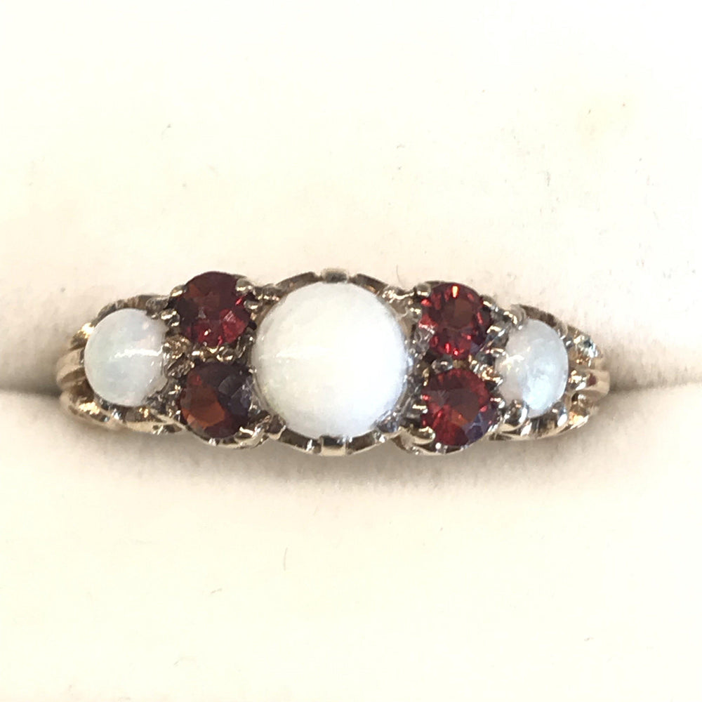 British Victorian Opal and Garnet Ring