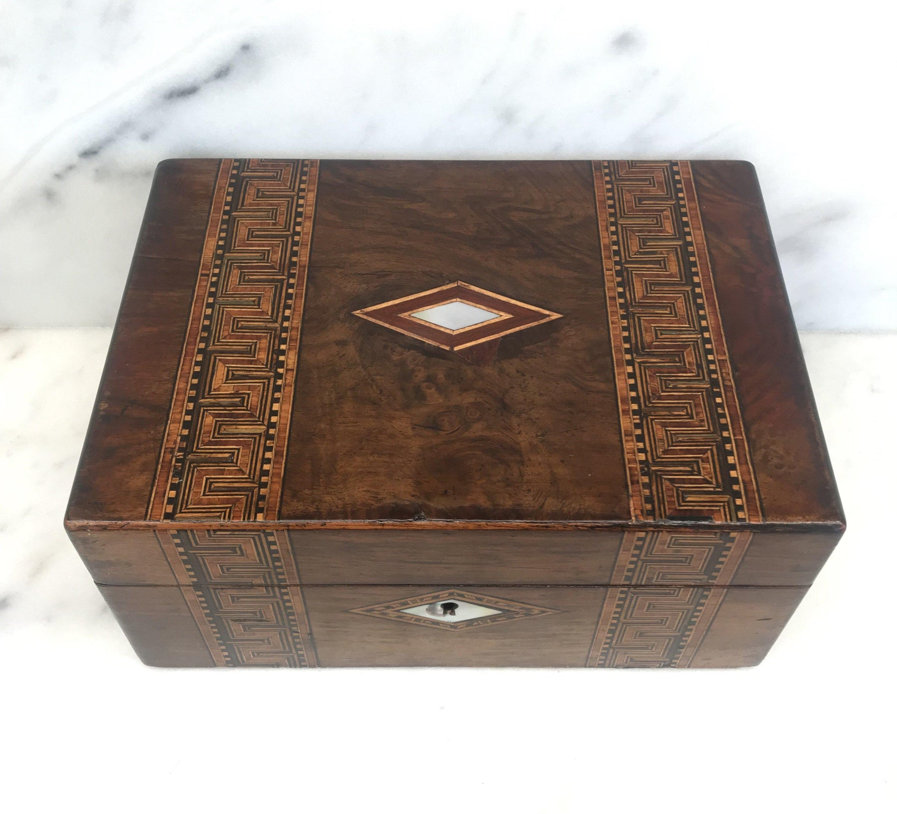 For Sale: British Inlaid Wood Box with Mother of Pearl Accents