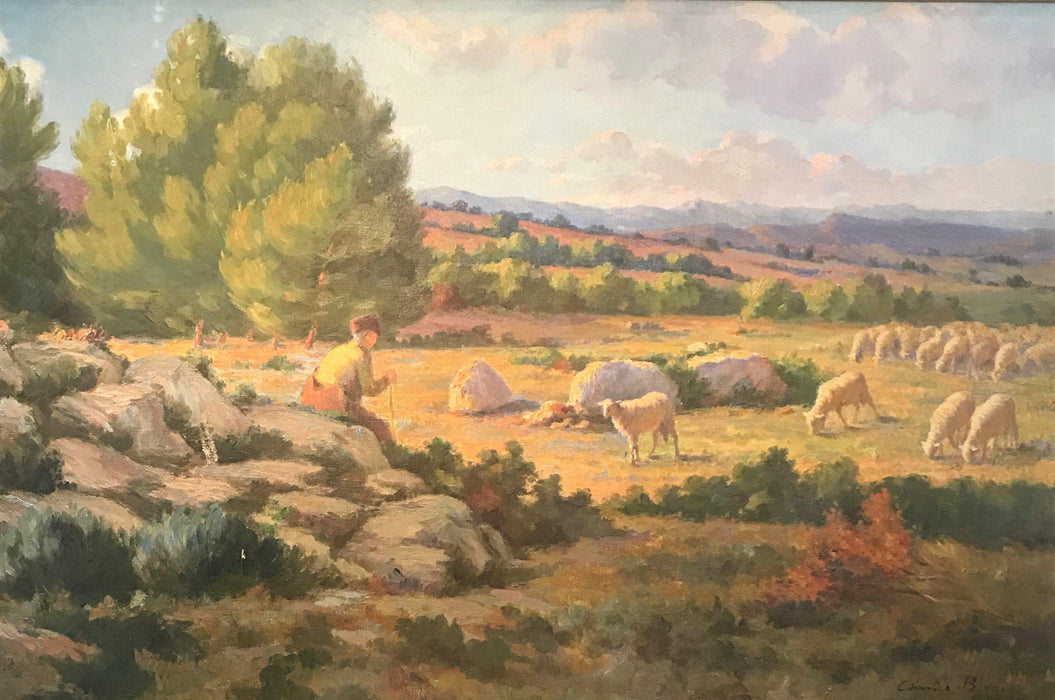 Buy this French Shepherd and Flock of Sheep in Brilliant Colors: Oil Painting Charles Joseph Berges