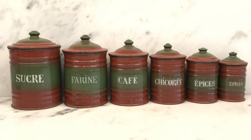 For Sale: Six Piece French Enamel Kitchen Canister Set Red/Green