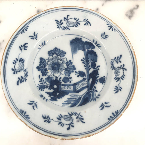 Early Delft Blue and White Plate Floral Motif