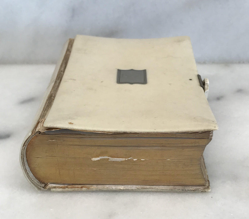 Antique French Prayer Book with Sterling Crest and Gold Gilt Pages