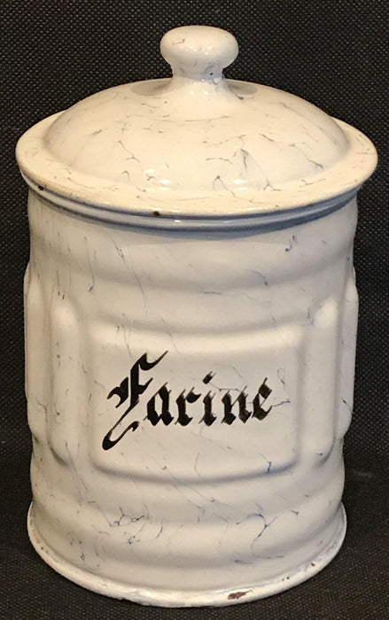buy this French Six Piece Enamel Canister Set White with Black Hand Lettering