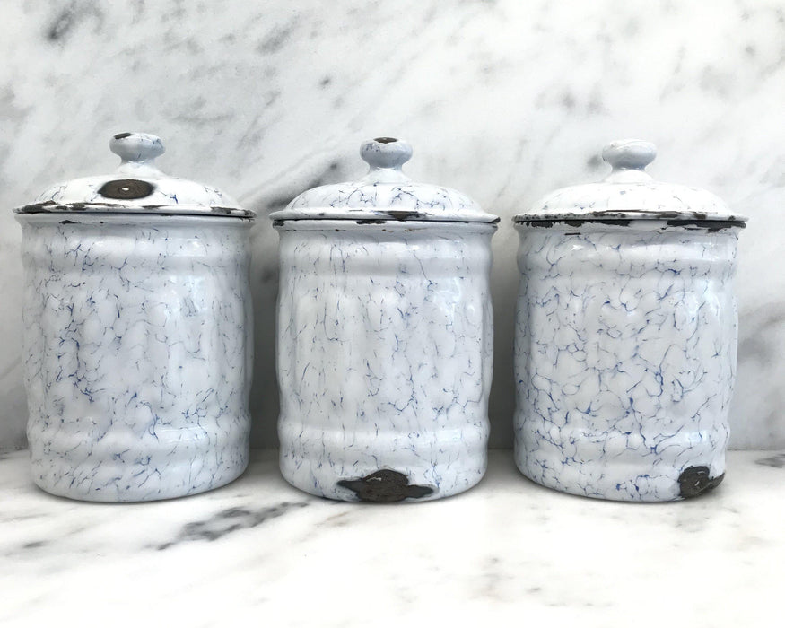 French Canister Three Piece Set Blue and White For Sale