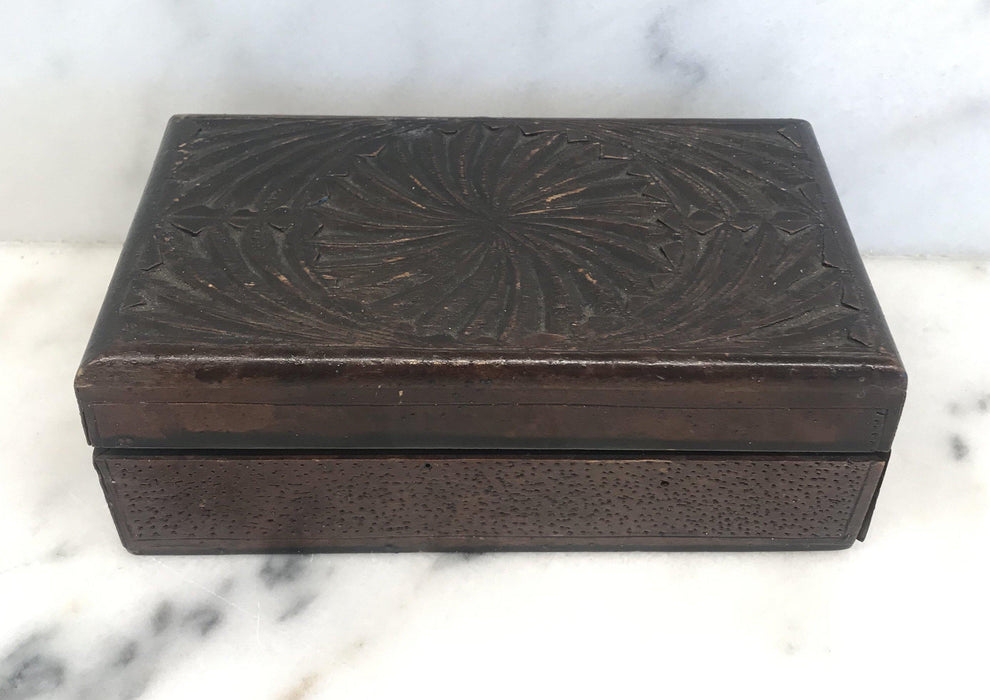 British Hand Carved Box from 1915 For Sale