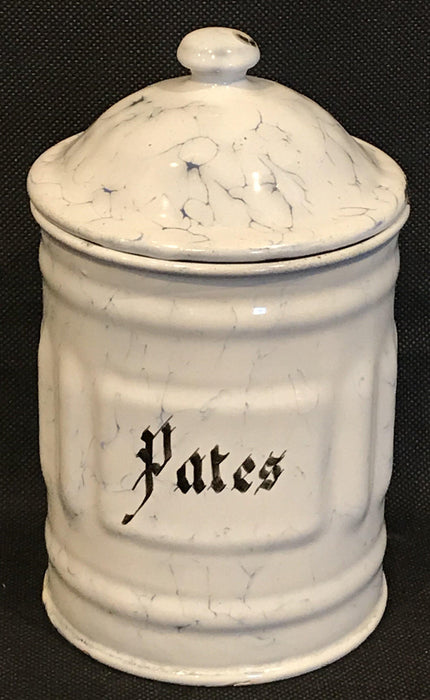 great French Six Piece Enamel Canister Set White with Black Hand Lettering