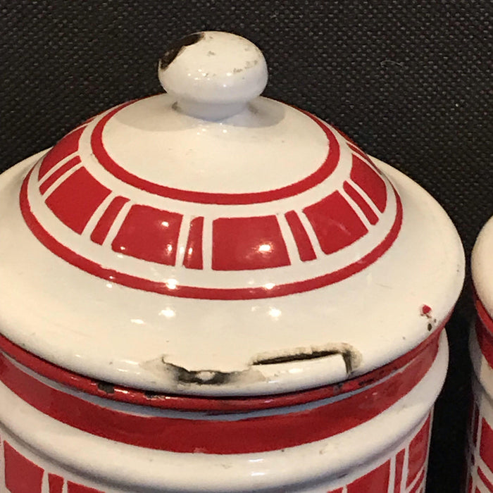 Rare French Six Piece Red and White Enamel Canister Set For Sale