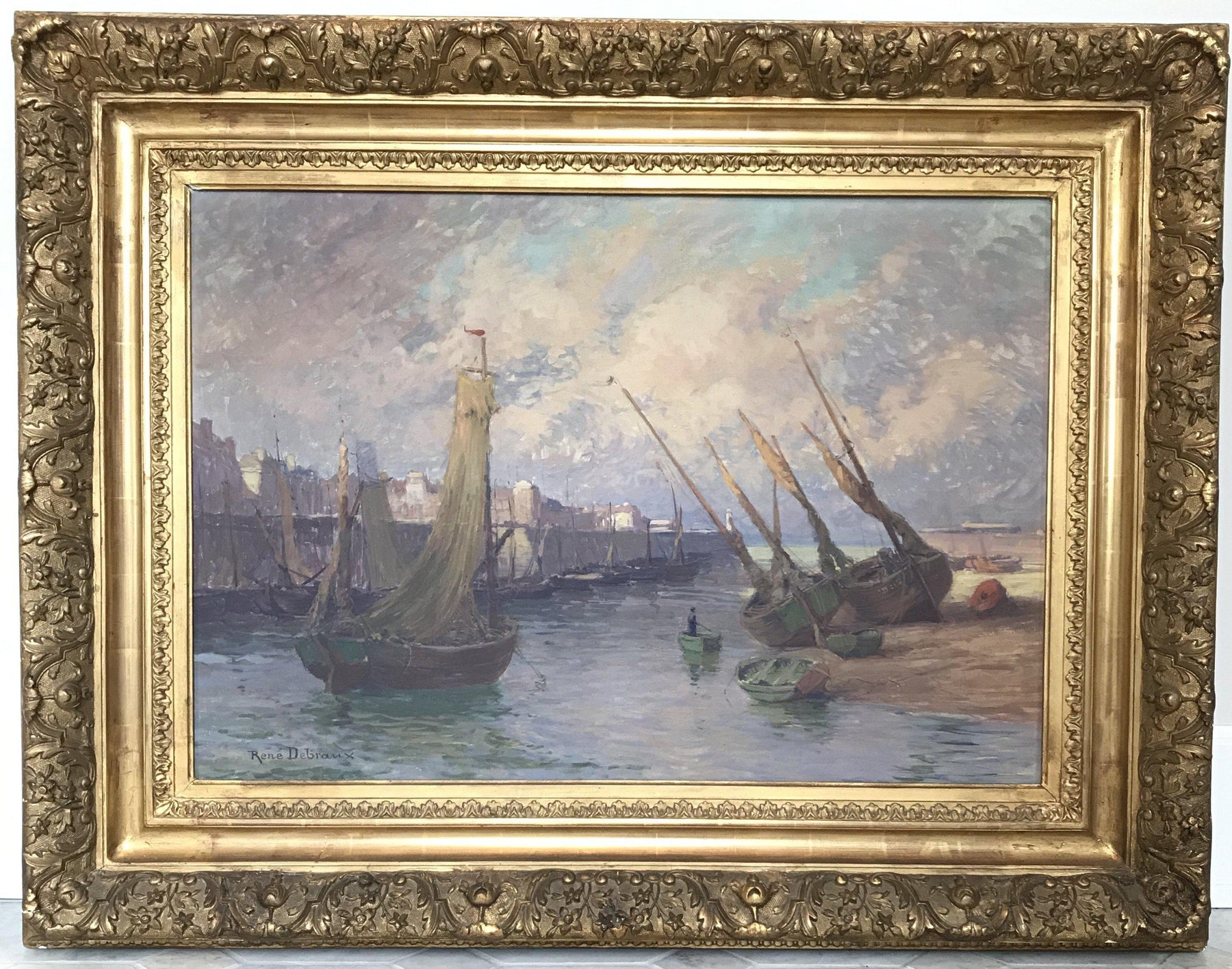 Original French 19th/Early 20th Century Oil Painting: Nautical Schooners and French Seaside by Rene Debraux (1868-1938)