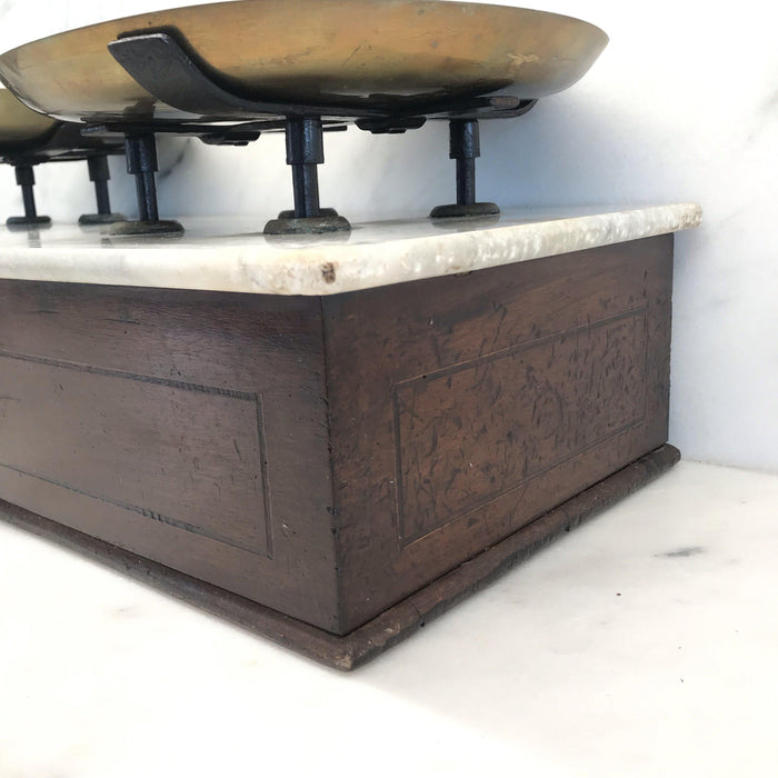 19th Century Antique French Scale in Walnut with Marble Top From Falcot Freres in Lyon