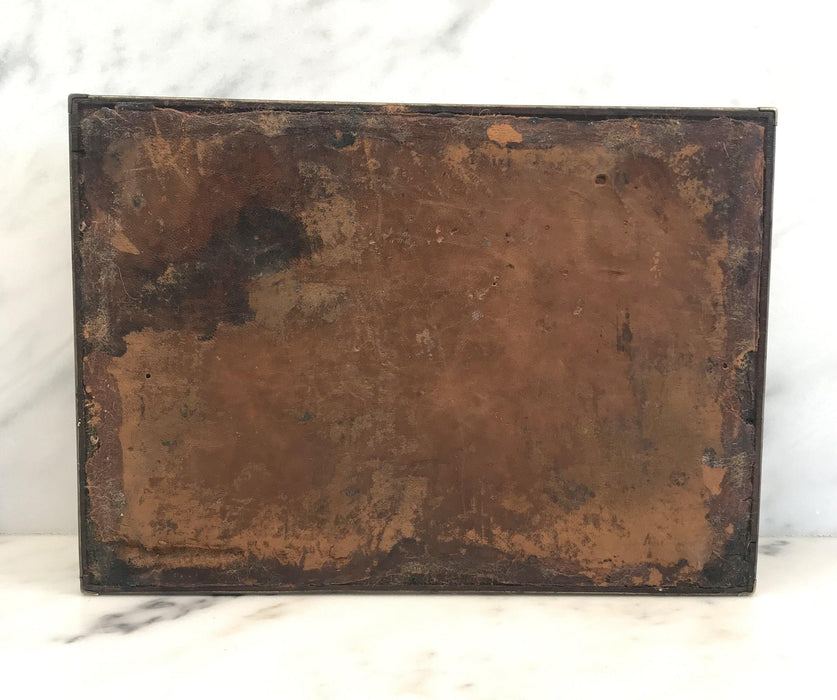Antique Very Early Georgian British Box with Brass Pulls and Strapping For Sale