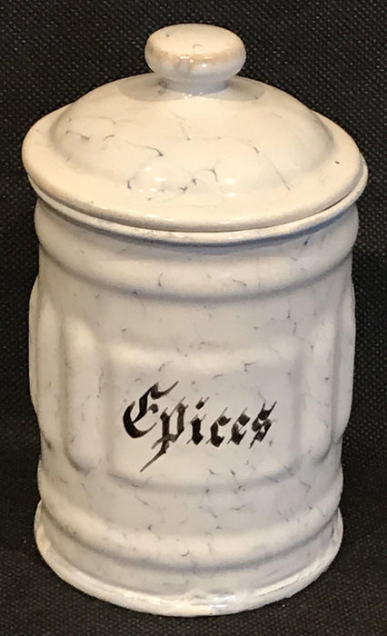 20th century French Six Piece Enamel Canister Set White with Black Hand Lettering