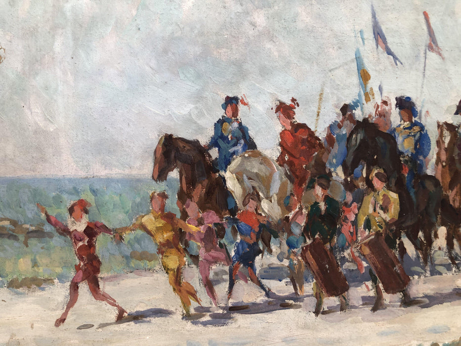 French Impressionist Oil Painting of a Circus Parade (2nd Painting of Night Silhouette Scene on Top)