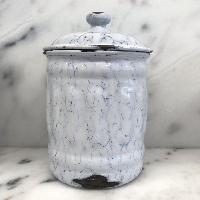 Antique French Canister Three Piece Set Blue and White