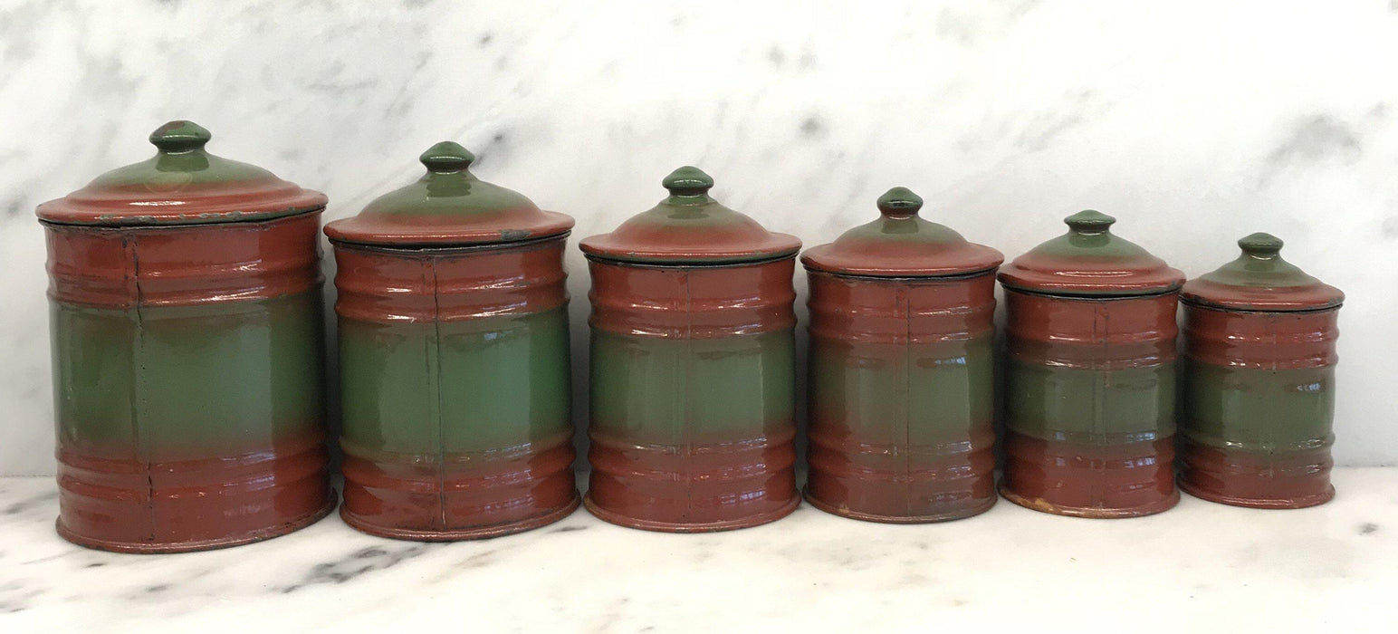 Six Piece French Enamel Kitchen Canister Set Red/Green For Sale