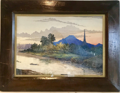 Antique Signed British Watercolor Painting, Sunset at a Temple on the Jhelum River