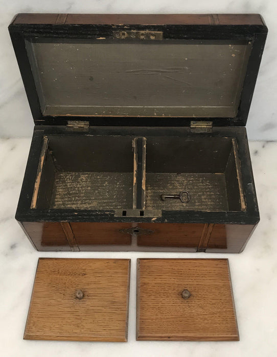 British Inlaid Tea Box with Original Lining and Key For Sale