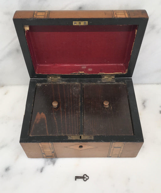 British Antique Inlaid Tea Box with key