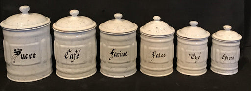 French Six Piece Enamel Canister Set White with Black Hand Lettering for sale