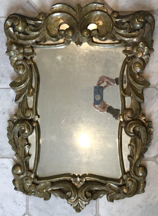 French Gold Pressed Brass Ornate Mirror