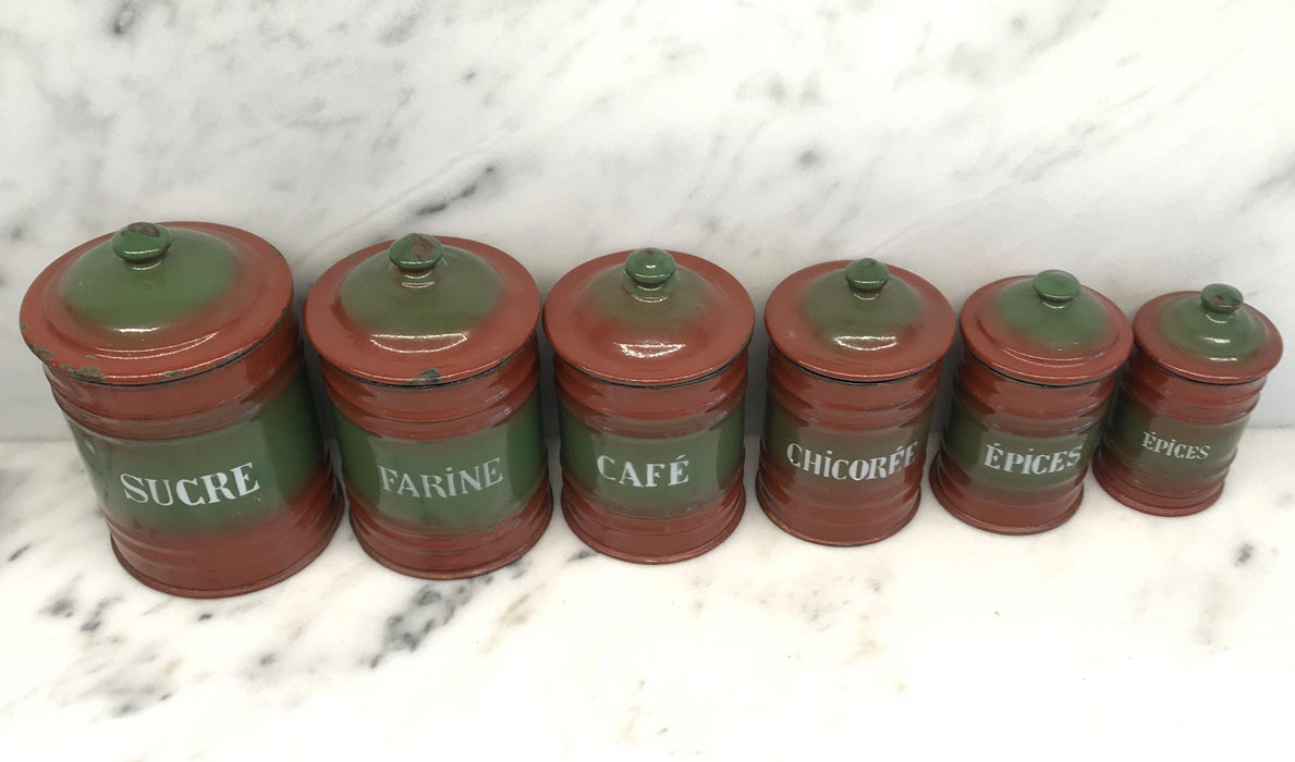To Sell: Six Piece French Enamel Kitchen Canister Set Red/Green
