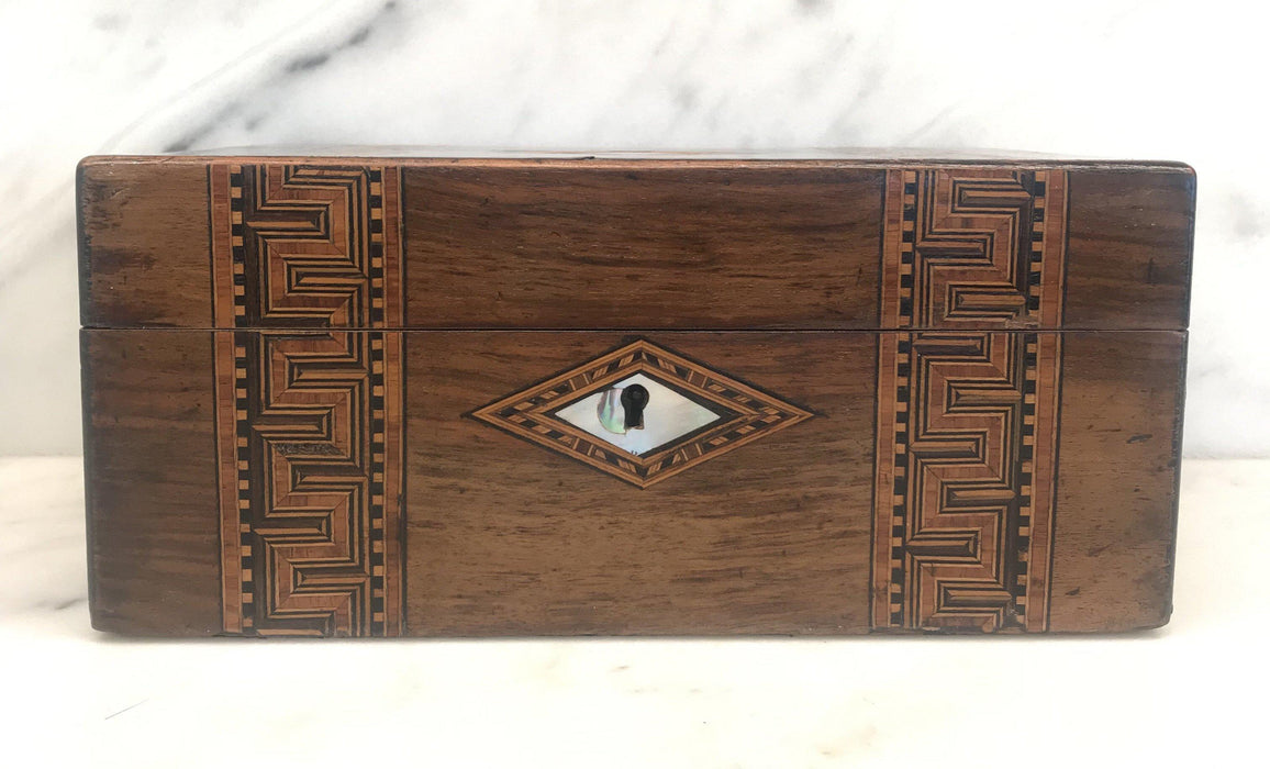 British Inlaid Wood Box with Mother of Pearl Accents For Sale