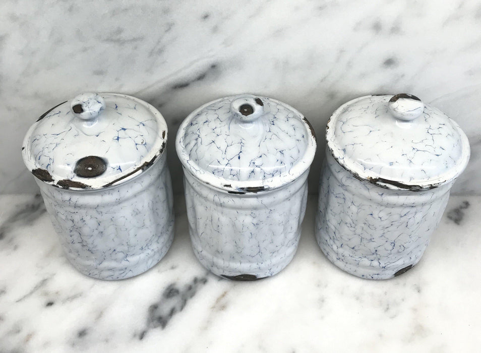 To Sell: French Canister Three Piece Set Blue and White
