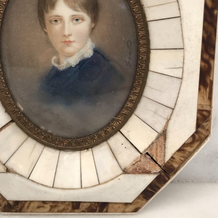 Rare 18th Century Signed French Painting of Young Man in Tortoiseshell and Bone Frame