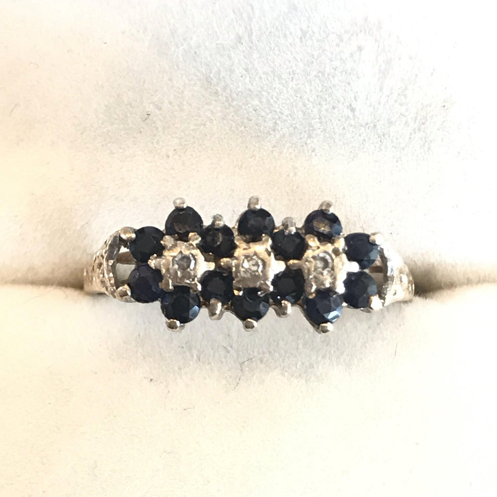 English Vintage Sapphire Ring with Diamonds