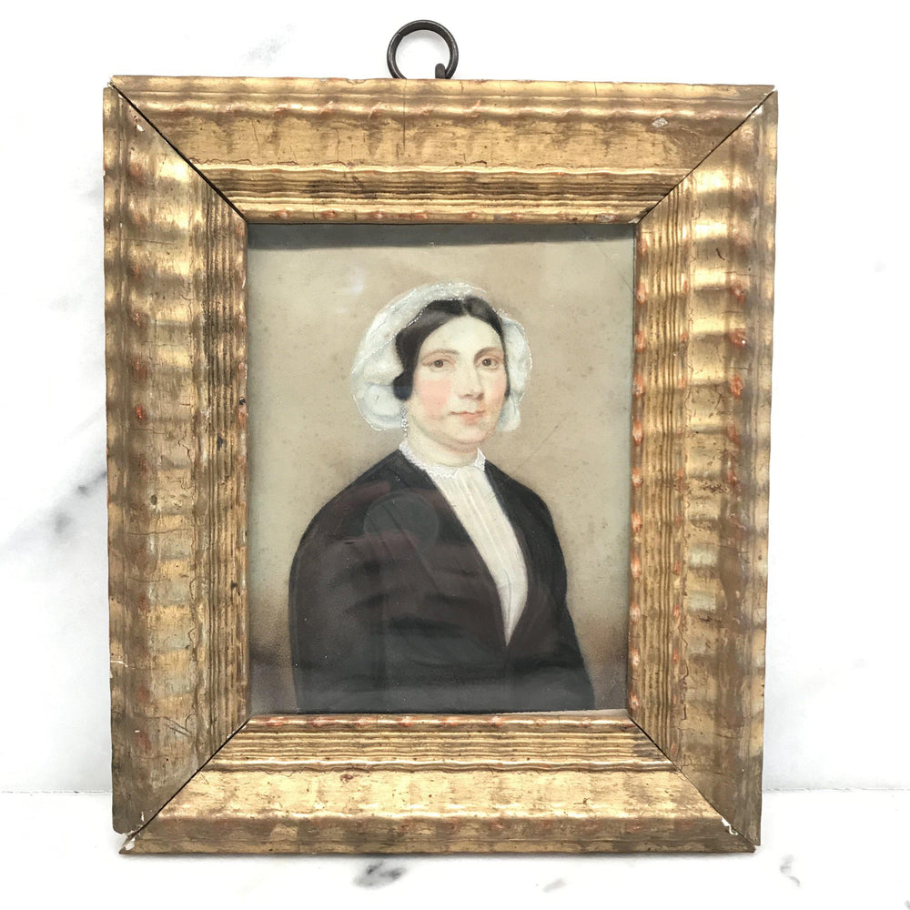 Early British Georgian Painting of a Woman circa 1840 with Period Gold Frame