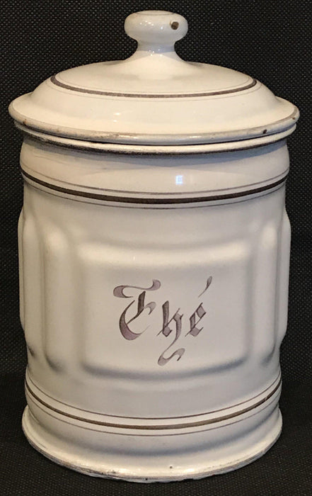 unique French Four Piece Enamel Canister Set White/Gold