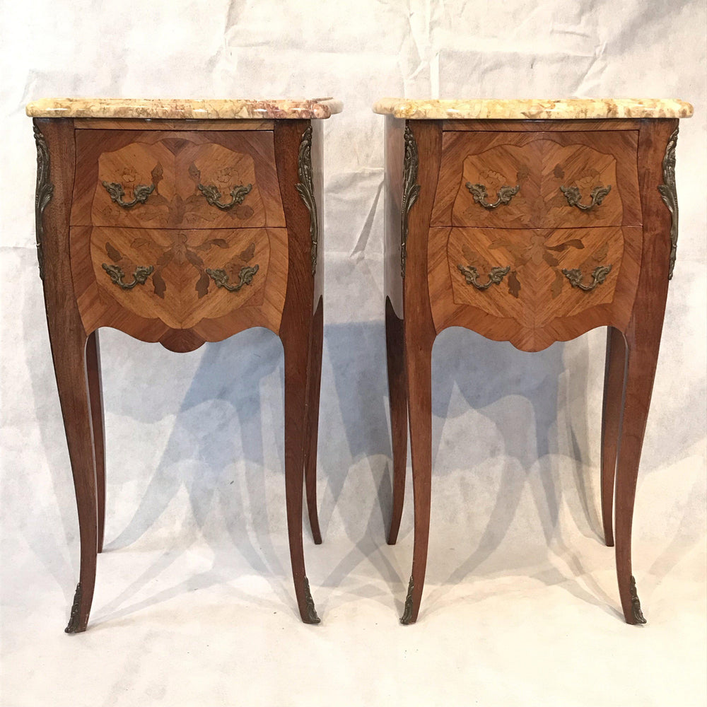 Pair of French Inlaid Two-Drawer Marble Top Nightstands