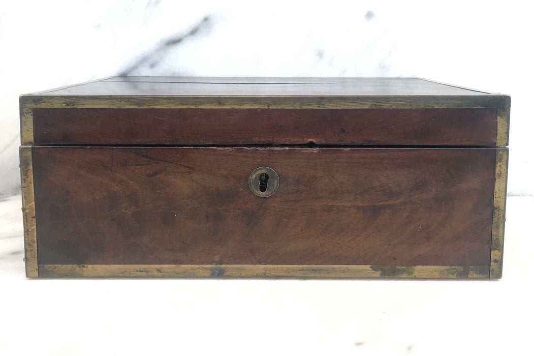Very Early Georgian British Box with Brass Pulls and Strapping For Sale